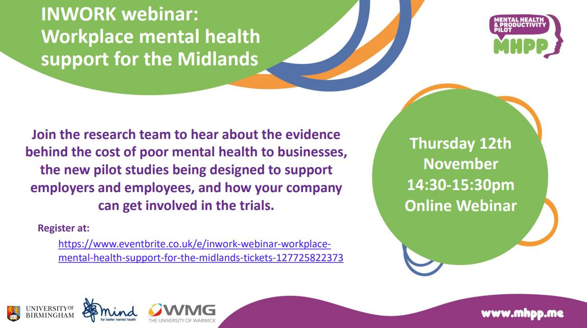 INWORK Webinar: Workplace mental health support for the Midlands